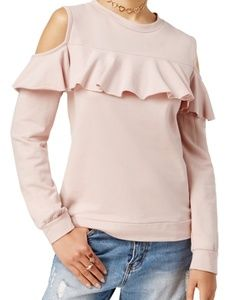 Polly&Esther Blush Ruffle Cold Shoulder Sweatshirt